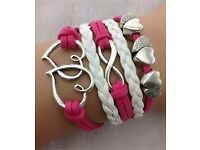 Brand New Double heart infinity leather bracelet