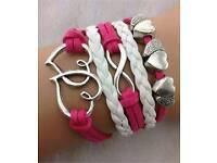 Brand New Hot Pink Double Hearts Infinity Leather Bracelet