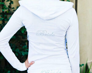 Small white Bride zip up hoodie
