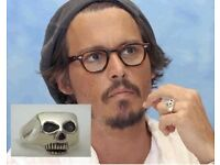 Johnny Depp skull ring silver