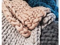 Arm-Knitted Blanket/Throw - (32 by 80 Inches)