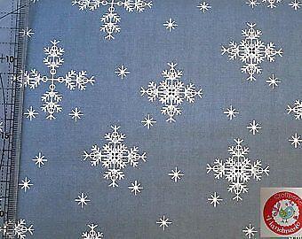 Baumwolle - Schneeflocken - Sterne - graublau - Stoffperle