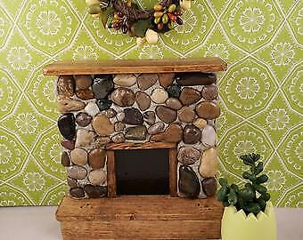 1:12 Scale Doll Miniature Stone Dollhouse Fireplace with Natural Wood Mantle