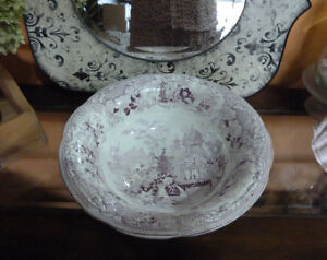 Purple Transferware Wash Basin/ Bowl