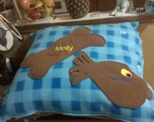 "Personalized Pet Pillow.  18"" x 18"" Fleece, Machine Embroidered"