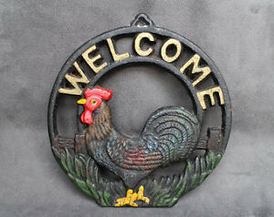 Vintage Cast Iron Rooster Welcome Door Sign Welcome Plaque,