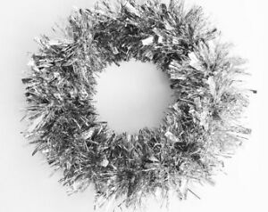 Christmas Holiday Season Tinsel Wreath - Silver