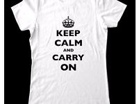 Customised Personal KEEP CALM TShirt - Custom T Shirt Printing Personalised Stag Hen Party Gift Fun