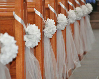 Diy decorate church pews with tulle for a wedding ebay junglespirit Choice Image
