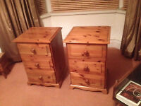 2 x Pine Bedside Tables with drawers