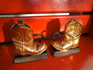 Bronzed Cowboy Boot Bookends