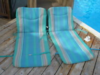 Two Outdoor Cushions for high Back Chairs