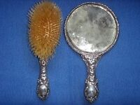 Victorian Silver Embossed Hand Mirror & Brush Set Collection Chelsea, London