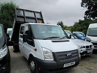 2013 63 FORD TRANSIT 350 2.2 TDCI 125 BHP DRW DOUBLE CAB TIPPER DIESEL
