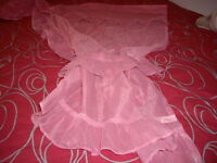 FRILLY PINK CURTAINS w/TIE BACKS