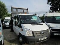 2014 14 FORD TRANSIT 350 2.2 125 BHP DRW DOUBLE CAB TIPPER DIESEL