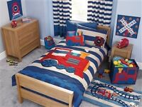Boys train bedroom duvet covers, curtains, rug and accessories