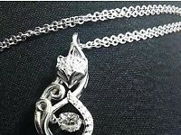 Sterling Silver Fox Pendant & Necklace