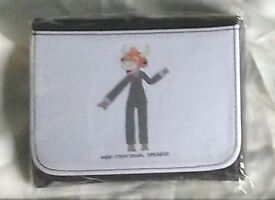 Leather wallet with motivational speaker themed cartoon cow design printed on it