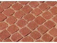 Cobblestone paving border edging