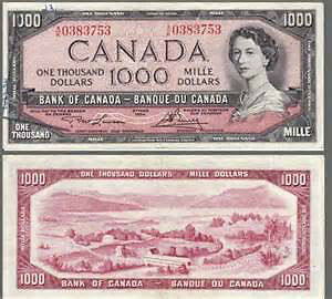 Canadian $1000 Bills Wanted - Prestine condition!