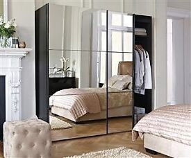 Double Mirrored large black wardrobe