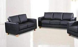 3+2 black leather sofa ex display