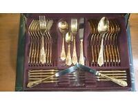 "Gold-Plated Cutlery Canteen. 75 pcs. 24 carat. In Original Leather Case. ""SBS-BESTECKE/SOLINGEN"""