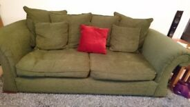 Sofas for sale 3seater & 2seater Green - Good condition