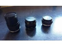 Camera lenses for sale. Fit Olympus OM10 and similar
