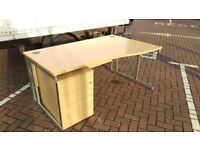 CURVED WORKSTATION & DRAWERS - 3 AVAIL OFFICE DESKS - - VGC -