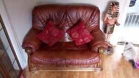 *ITALIAN LEATHER* 2 seater, single electric chair & footstool