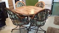 """42"""" Round Table, Leaf, 4 Chairs"""