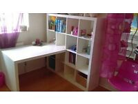 WHITE IKEA CUBE SHELVING UNIT AND DESK COMBINATION