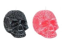 Pink or Black candy skull candle