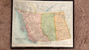 Antique 1905 Map of Western Canada