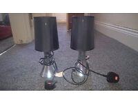 pair bedside lights black nd silver
