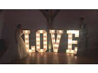 Winter OFFER £120 - hire Marquee Light Up LOVE Letters for Northamptonshire and beyond