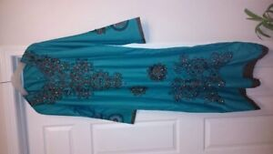 Teal with beadwork