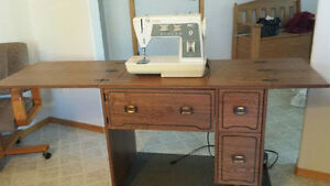 Sewing Cabinet with built-in Singer Sewing Machine