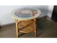 Retro Circular Shaped Bamboo, Wicker + Glass Coffee Table + Circular Feather Design Top.