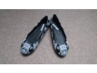 Banned size 3 (euro 36) flats. Punk/rock/goth shoes. Used, in good condition.
