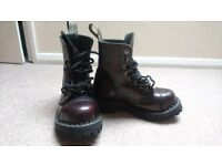 "Leather punk/rock/goth boots, size 3 (euro 36). Used, very good condition. ""Steel"" boot brand."