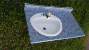 One bathroom sink with faucet and blue top, $40 OBO
