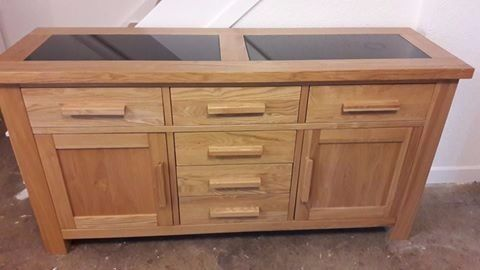 Harvey S Solid Oak Sideboard With Black Granite Inserts