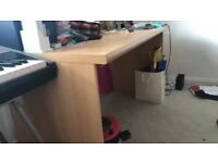 Beech effect desk and storage unit (sold separate or as set)
