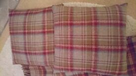 Dunelm Tartan Throws (2) and Cushions (2)