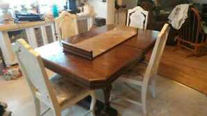 Vintage Wood Kitchen Table and Chairs