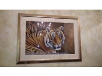FRAMED PRINT CROUCHED TIGER BY RAKESH KUMAR