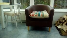 2 Faux Leather Tub Chairs